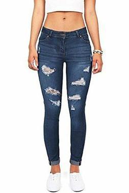Wax Women's Juniors Distressed Slim Fit Stretchy Skinny Jean