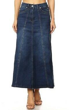 Women's Juniors Mid Rise A-Line Long Jeans Maxi Denim 8-Gore