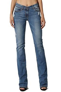 TheMogan Women's Mid Rise Slim Fit Bootcut Jeans Premium Blu