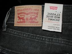 Women's New Levi's Mid Rise Skinny Black & Gray Wash Jeans S