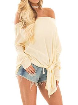 Women's Off The Shoulder Long Sleeve Casual Tie Front Knot B