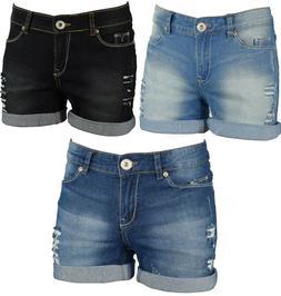 Women's Stretchy Denim Shorts Distressed Jeans Hot Pants Ski