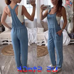 Women's Vintage Jumpsuit Pocket Straps Jeans Pants Overalls