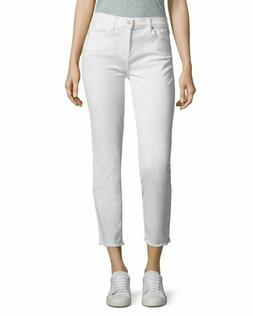 7 For All Mankind Women's White Roxanne Stretch Ankle Jeans,