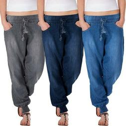 Women Solid Color Drawstring Denim Jeans Baggy Pants Loose F