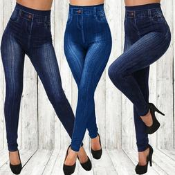 Women Stretch Pencil Pants High Waist Skinny Jeggings Jeans