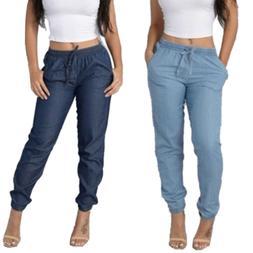 Women High Elastic Waist Trousers Jeans Denim Casual Loose L