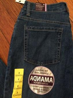 Gloria Vanderbilt Womens Amanda Jean Size 6 Medium Wash Stra
