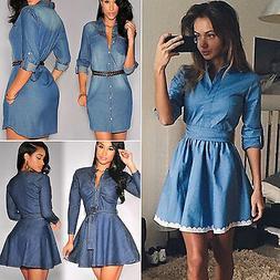 Women Denim Jeans Short Mini Dress Ladies Casual Party Long