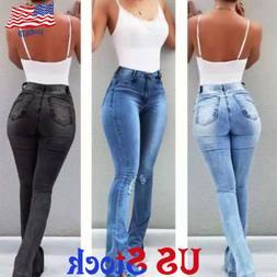 Womens High Waist Denim Flared Pants Ripped Wide Leg Jeans B