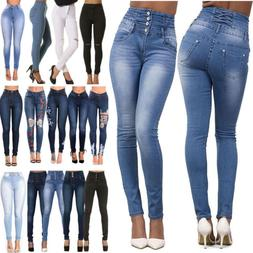 Womens High Waisted Denim Skinny Jeans Jeggings Stretch Long