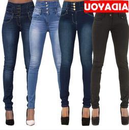 Womens High Waisted <font><b>Jeans</b></font> Push Up Pants