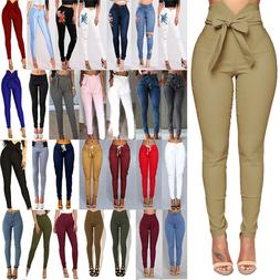 Womens High Waisted Jeans Jeggings Trousers Stretchy Ripped