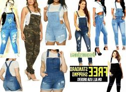 WOMENS Junior PLUS BLUE JEANS Shortall Overall Distressed St