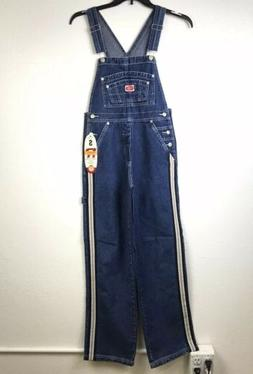 REVOLT WOMENS OVERALLS CLASSIC CARPENTER JEANS Y2K 90S STRIP