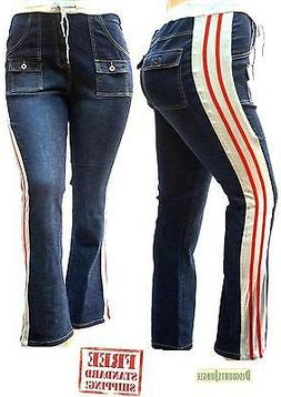 WOMENS PLUS SIZE BLUE Denim JEANS STRIPED SIDE Stretch strai