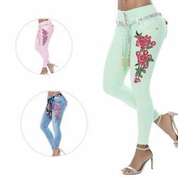 Plus Size Women Floral Print Stretch Slim Pants Long Skinny