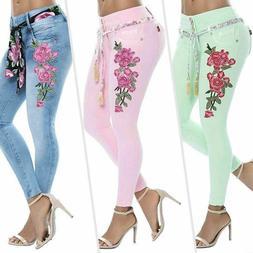 Womens Plus Size Floral Print Stretch Pants Long Skinny Jean