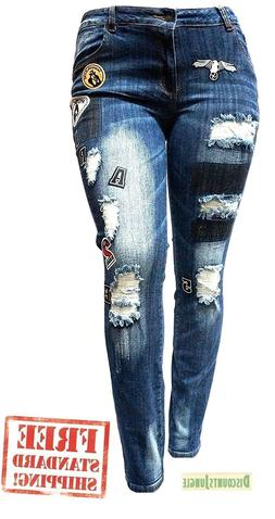 WOMENS PLUS SIZE Ripped Distressed Patches BLUE Denim Jeans