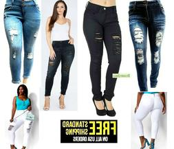 WAX JEANS WOMENS PLUS SIZE Stretch Distressed Ripped SKINNY