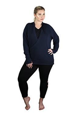 90 Degree By Reflex Womens Plus Wrapped Hoodie - Navy - 1X