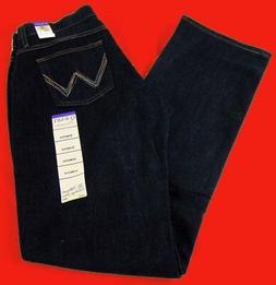 Womens Wrangler Q Baby Mid Rise Boot Cut Dark Dynasty Jeans