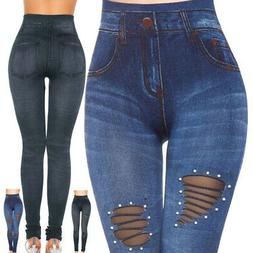 Womens Skinny Fit High Waist Stretch Jeans Denim Pants Jeggi