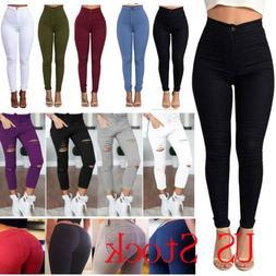 Womens Stretch Denim Jeans Skinny Pencil Pants Jeggings High