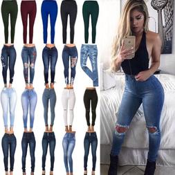 Womens Stretch Skinny Denim Jeans Slim Jeggings High Waist P