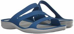 CROCS Womens SWIFTWATER Strappy Slip On Sandals- Blue Jean/P
