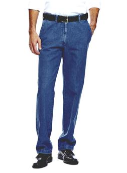Haggar Men's Work To Weekend Dark Stonewash Denim No Iron Pl